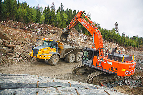 Hitachi Zaxis excavators are being used to trial Shell's gas-to-liquids fuel