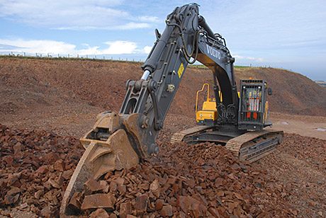 A bespoke design of ripper tooth is being used with the 38-tonne excavator at Glenfin quarry