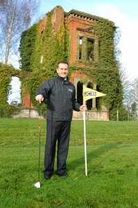 JCB CEO Graeme Macdonald in front of the ruins of Woodseat Hall, location of the new JCB Golf course-2