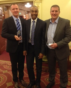 From left to right: A-Plant's Head of Training, Bob Harper; Guest speaker and olympian, Colin Jackson and A-Plant's Head of Performance Standards, Chris Ryan
