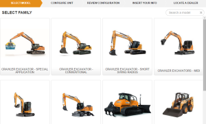 Product Ranges displayed on the Case Product Configurator
