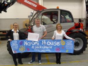 Left to right: Sarah Hunter, Manitou UK Marketing Supervisor; David James. Area Fundraiser for Naomi House & Jacksplace and Kendal Heron, Manitou UK Marketing Assistant