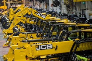 Picture shows JCB Telescopic Handlers on the production line at the JCB World Headquarters in Cheadle, England on March 19 2015.