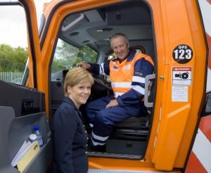 Nicola Sturgeon with crane operator Ian Brown