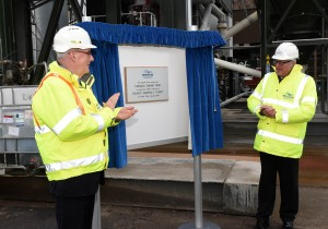 Breedon  Daviot Quarry. Alan Mackenzie, CEO of Breeden (left) with Fergus Ewing MSP at the opening of the new asphalt plant at Daviot Quarry. Pic - Phil Downie